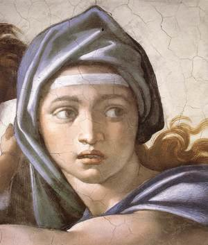 Reproduction oil paintings - Michelangelo - The Delphic Sibyl (detail-1) 1509