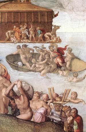 Reproduction oil paintings - Michelangelo - The Deluge (detail-2) 1508-09
