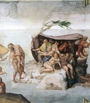 Reproduction oil paintings - Michelangelo - The Deluge (detail-3) 1508-09