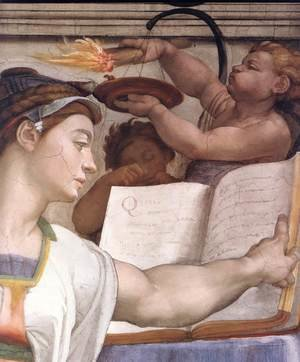 Reproduction oil paintings - Michelangelo - The Erythraean Sibyl (detail-1) 1509