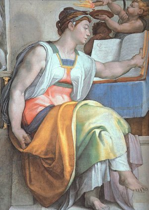 Reproduction oil paintings - Michelangelo - The Erythraean Sibyl (detail-3)  1508-12