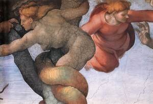 Reproduction oil paintings - Michelangelo - The Fall and Expulsion from Garden of Eden (detail-1) 1509-10