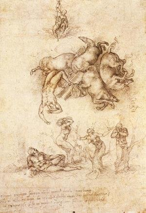 Reproduction oil paintings - Michelangelo - The Fall of Phaeton c. 1533 2