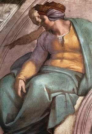 Reproduction oil paintings - Michelangelo - Uzziah - Jotham - Ahaz (detail-1) 1511-12