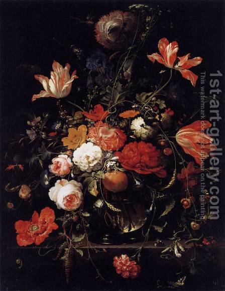 A Glass of Flowers and an Orange Twig 1660s by Abraham Mignon - Reproduction Oil Painting