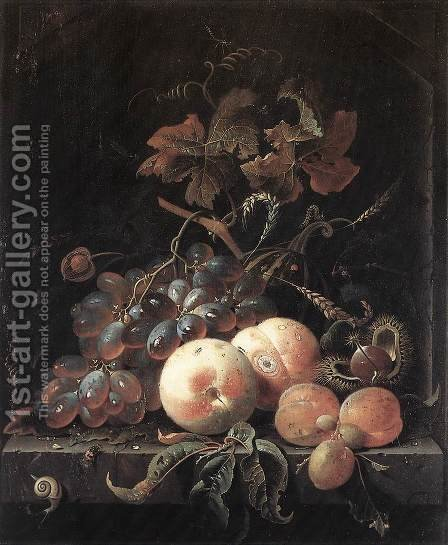 Still-Life with Fruits 1660s by Abraham Mignon - Reproduction Oil Painting