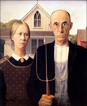 Famous paintings of Couples: American Gothic