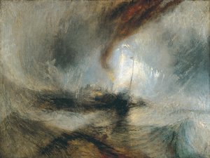 Famous paintings of Storms & Rough Water: Snow Storm- Steam-Boat off a Harbour's Mouth c. 1842