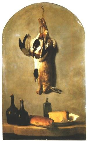 Still Life: Hare, Duck, Loaf of Bread, Cheese and Flasks of Wine