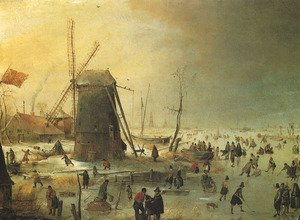 Famous paintings of Ice skating: Winter Scene with Skaters by a Windmill