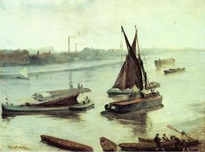 Reproduction oil paintings - James Abbott McNeill Whistler - Grey and Silver: Old Battersea Reach