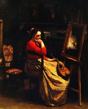 Reproduction oil paintings - Jean-Baptiste-Camille Corot - Artist's Studio, Young Woman with a Mandolin