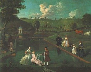 Famous paintings of Pools: View of the Temple Pond at Beachborough Manor