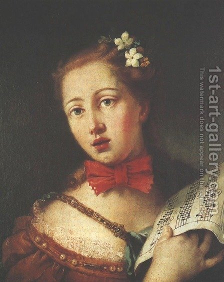 Portrait of a Young Singer by Alessandro Longhi - Reproduction Oil Painting