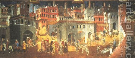 Effects of Good Government by Ambrogio Lorenzetti - Reproduction Oil Painting