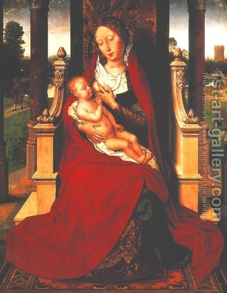 Madonna with Child on a Throne by Hans Memling - Reproduction Oil Painting