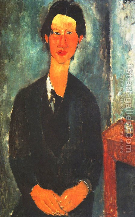 Portrait of Soutine Sitting at a Table (Ritratto di Soutine seduto a tavola) by Amedeo Modigliani - Reproduction Oil Painting