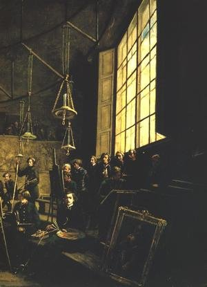 Famous paintings of Studios and Workshops: Interior of the School of Fine Arts in Warsaw