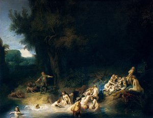 Reproduction oil paintings - Rembrandt - Diana and her Nymphs Bathing, with Actaeon and Callisto