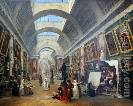 Design for the Grande Galerie in the Louvre 1796 by Hubert Robert - Reproduction Oil Painting