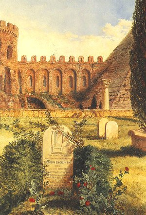 Famous paintings of Cemeteries: Keats's Grave in the Old Protestant Cemetery at Rome, 1873
