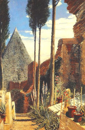 Famous paintings of Cemeteries: Shelley's Grave in the New Protestant Cemetery at Rome, 1873