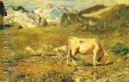 Grazing in Springtime (Pascoli di primavera) by Giovanni Segantini - Reproduction Oil Painting
