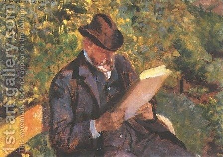 Portrait of a Man Reading by Jacek Malczewski - Reproduction Oil Painting