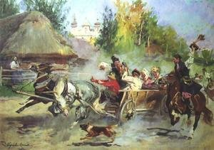 Famous paintings of Transportation: Cracovian Wedding