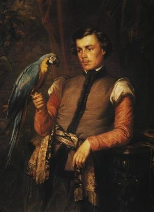Jozef Simmler reproductions - Nobleman with a Parrot