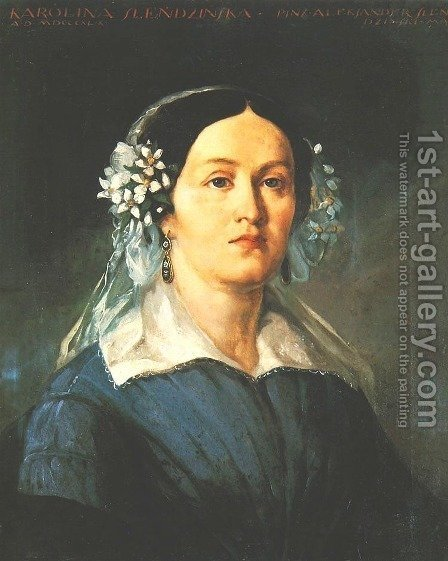 Portrait of Karolina Slendzinska by Aleksander Slendzinski - Reproduction Oil Painting