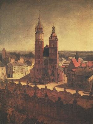 Reproduction oil paintings - Jan Matejko - View of the St. Mary's Church from the Town Hall Tower in Cracow