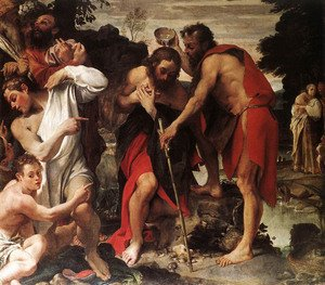 Reproduction oil paintings - Annibale Carracci - Baptism of Christ (Battesimo di Cristo)