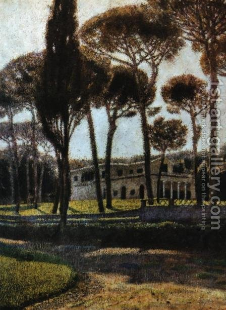 Pineta di Villa Borghese in Rome by Aleksander Gierymski - Reproduction Oil Painting