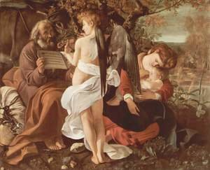 Famous paintings of The Holy Family: Rest on the Flight into Egypt (Riposto durante la fuga in Egitto)
