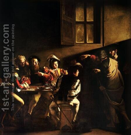 Caravaggio: Calling of St. Matthew (Vocazione di san Matteo) - reproduction oil painting