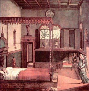 Famous paintings of Furniture: Legend of St. Ursula: The Dream of St. Ursula (Storie di sant'Orsola: Sogno di sant'Orsola)