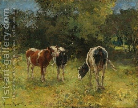 Cows in a Paddock by Alfred Wierusz-Kowalski - Reproduction Oil Painting