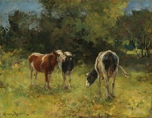Reproduction oil paintings - Alfred Wierusz-Kowalski - Cows in a Paddock