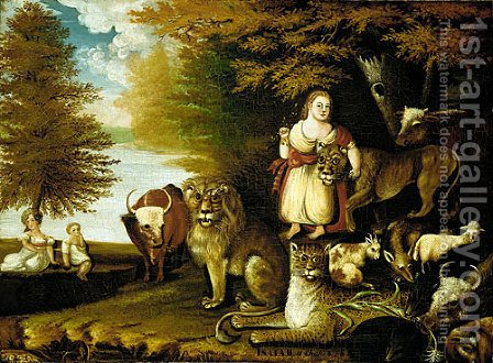 Edward Hicks: Peaceable Kingdom - reproduction oil painting
