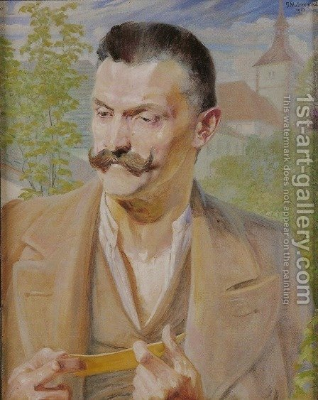Sketch for the Portrait of a Man by Jacek Malczewski - Reproduction Oil Painting