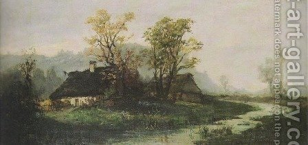 Landscape with Cottages by Aleksander Mroczkowski - Reproduction Oil Painting