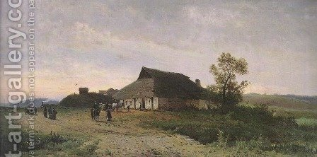 Landscape with an Inn by Walery Brochocki - Reproduction Oil Painting