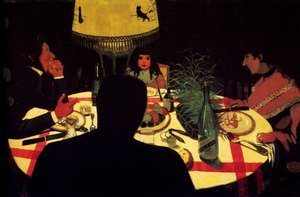 Nabis painting reproductions: Dinner by Lamplight