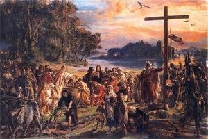 Reproduction oil paintings - Jan Matejko - Christianisation of Poland in 965