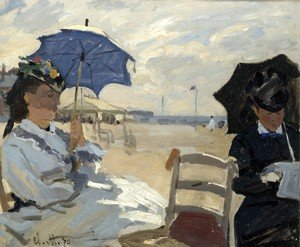 Famous paintings of Parasols and Umbrellas: On the Beach, Trouville (La plague de Trouville)