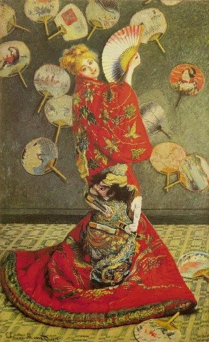 Famous paintings of Fans: Madame Monet in Japanese Costume (La Japonaise)