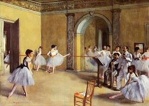Famous paintings of Studios and Workshops: Dance Class at the Opera, rue Le Peletier