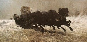 Famous paintings of Horses & Horse Riding: Sleigh Ride
