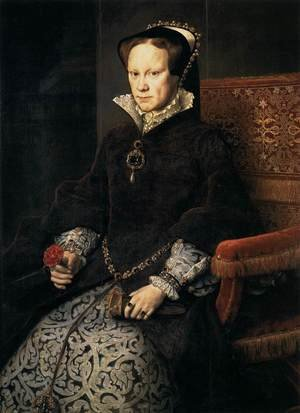 Mannerism painting reproductions: Queen Mary Tudor of England 1554